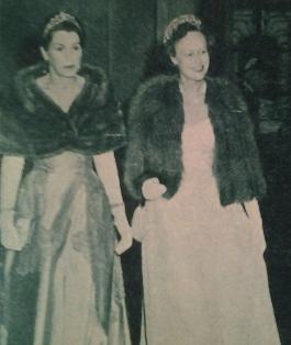 Estelle Bernadotte och Marie Elisabeth av Wied vid det holländska statsbesöket 1957.